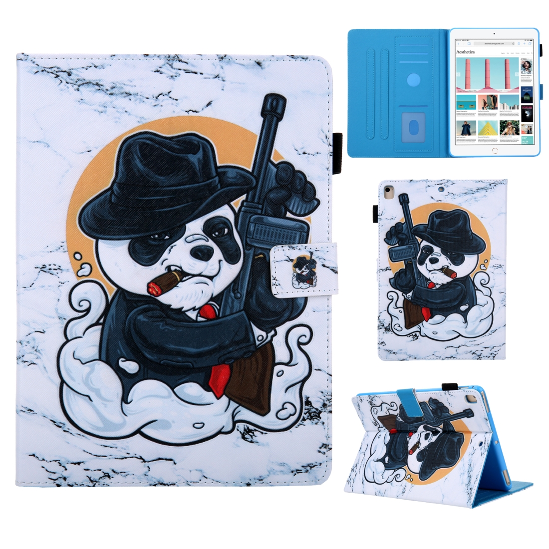 iPad 7th Generation Case (10.2 Inch) 3D Leather Case with Sleeve  (Panda)