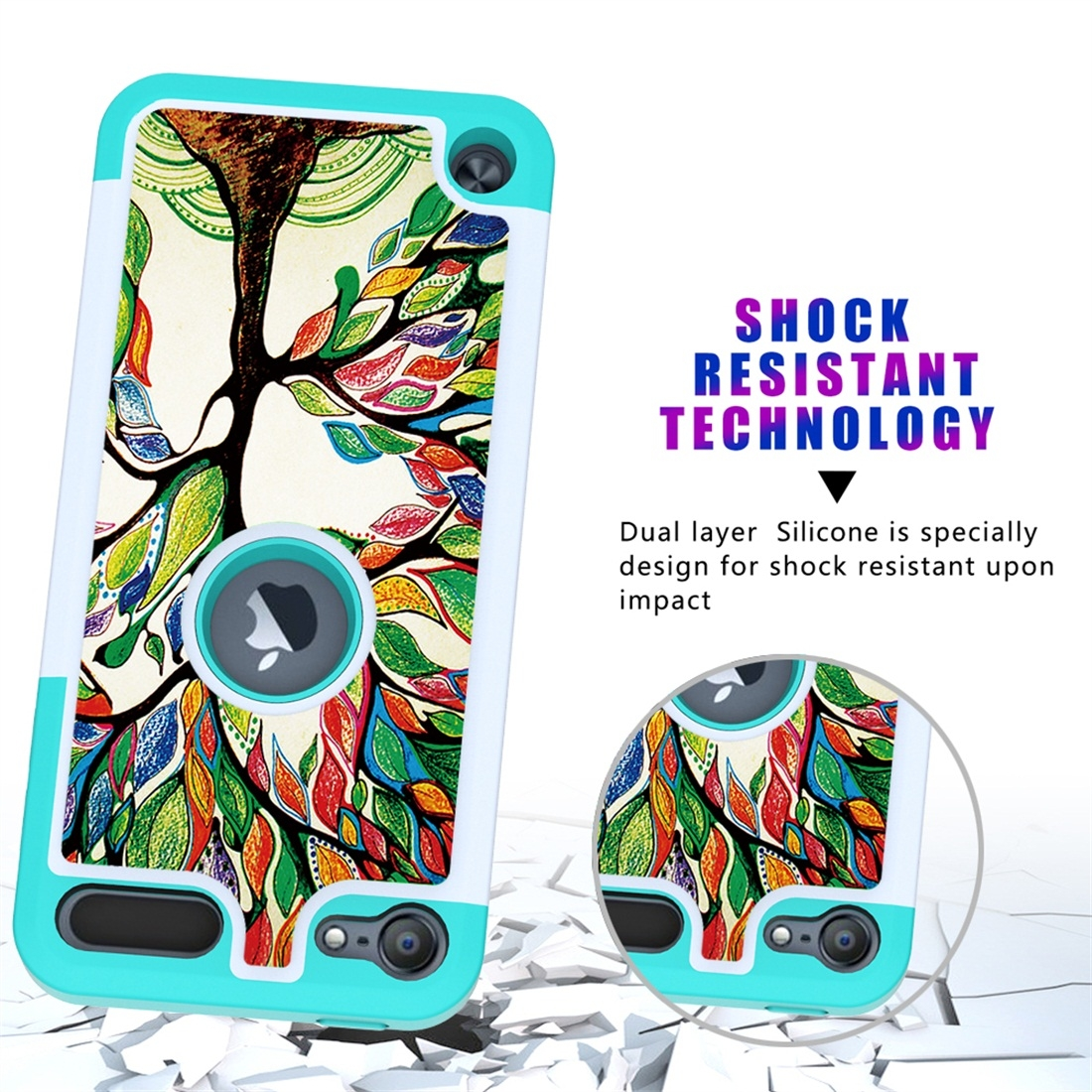 Colorful  Design PC/Protective Durable Casing for iPod touch 5/ 6/ 7 (2019) (Colorful Tree)