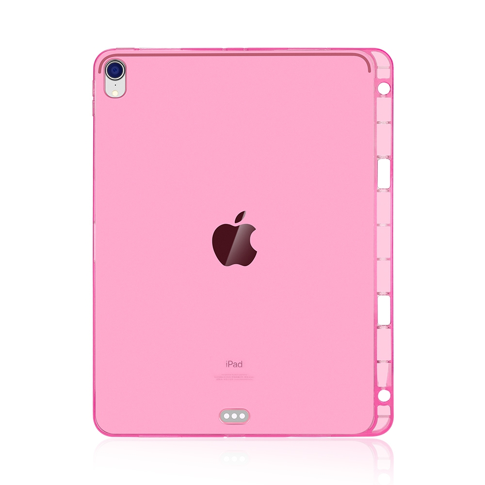Highly Transparent Durable Soft Protective iPad Pro 12.9 Case (2018), with Pen Holder (Pink)