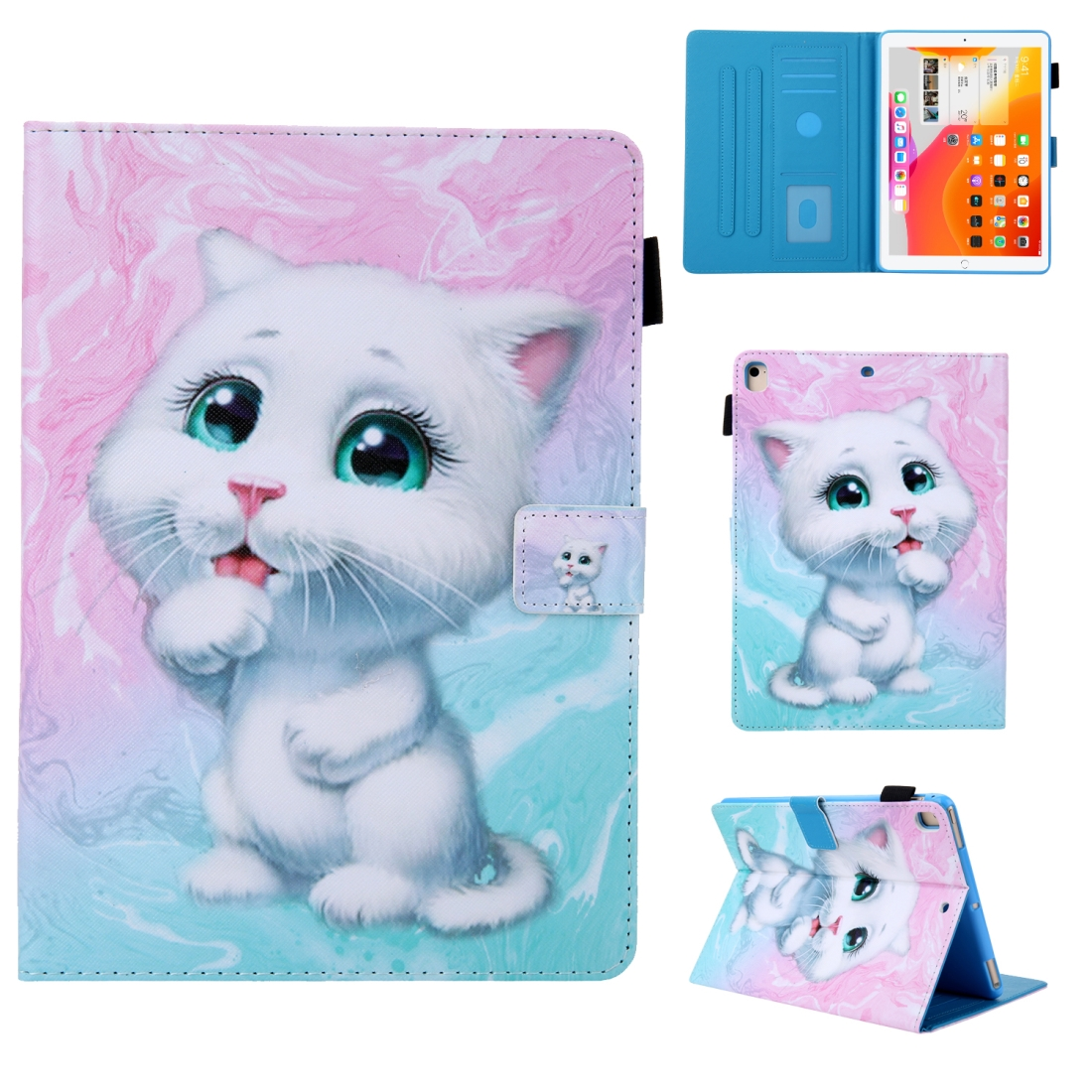 iPad 10.5 Case Colorful Design Leather Case with Sleeve (Cat)