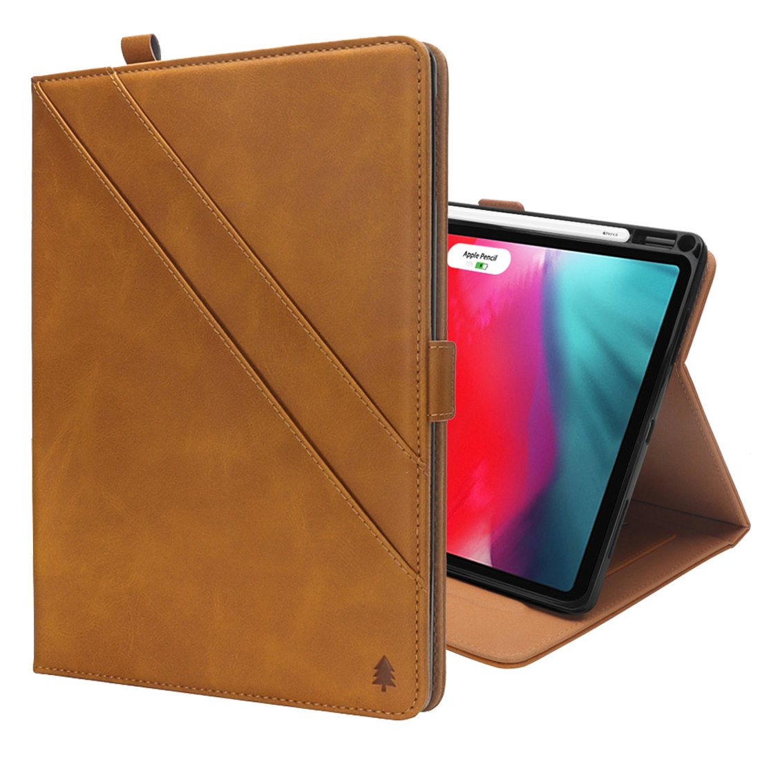 Bi-Stand Leather iPad Pro 11 Case (2018), w/Sleeves, Frame, Pen Holder (Light Brown)