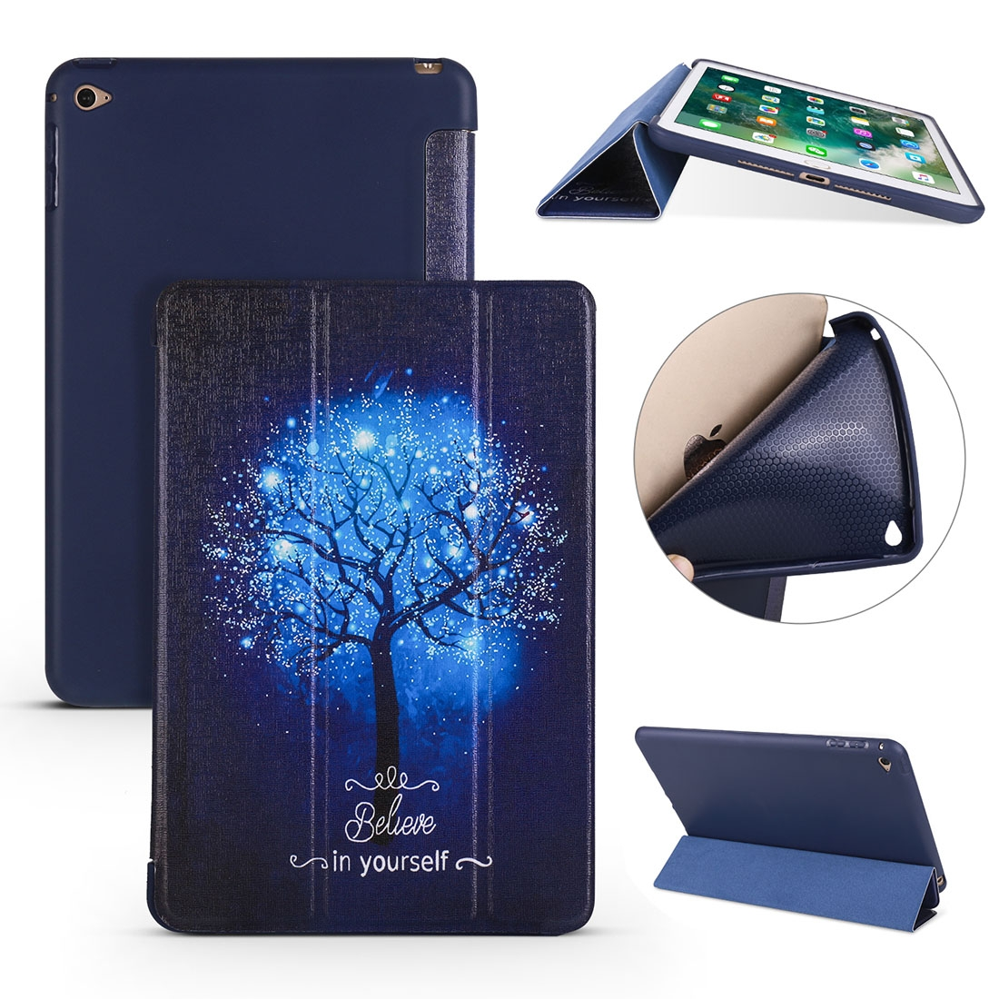 Blue Tree Leather iPad Mini 4 Case, with Tri-Fold Honeycomb Durable Cover