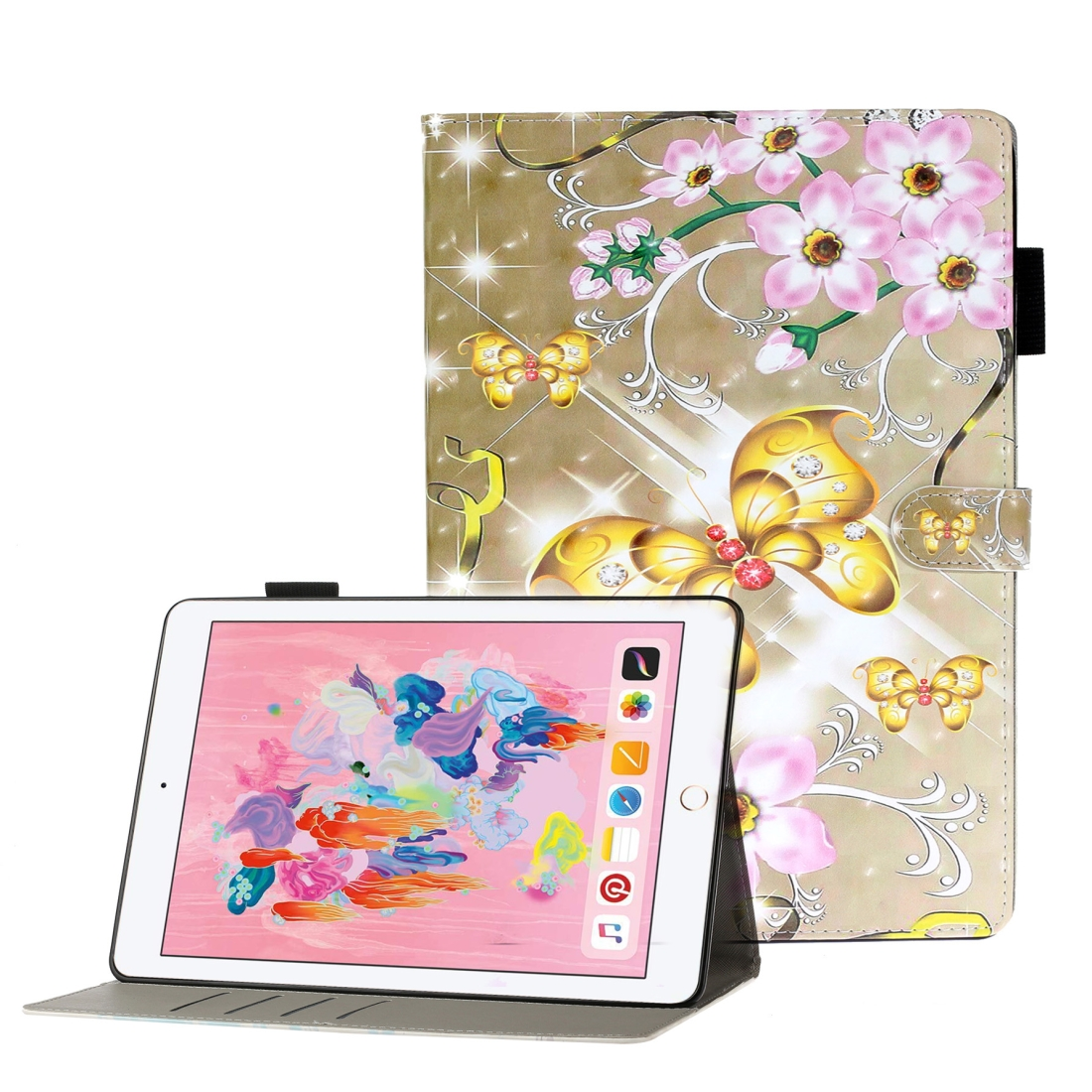 Case For iPad 5/ 6/ 7/ 8/ 9 3D Embossing Leather Case & Slim Profile (Gold Butterfly)