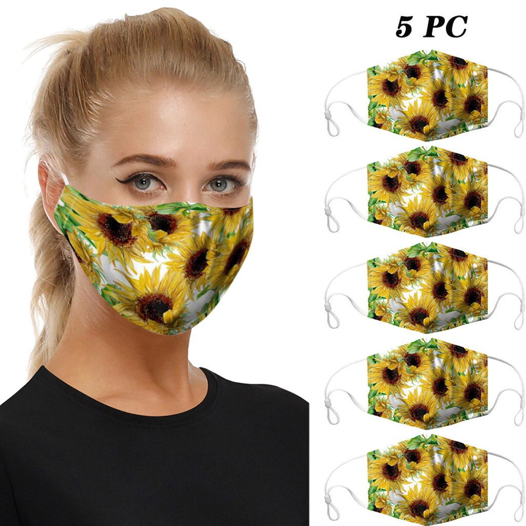 Cloth Face Masks, Stylish, Washable, Nice Breathability – 5 Pack – Floral
