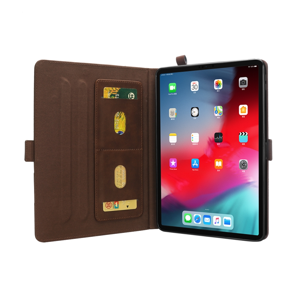 Bi-Stand Leather iPad Pro 11 Case (2018), w/Sleeves & Frame (Dark Brown)