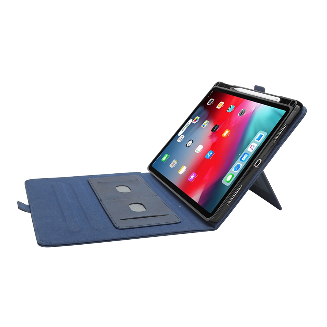 Bi-Stand Leather iPad Pro 12.9 Case (2018), w/Sleeves, Frame, Pen Holder (Blue)
