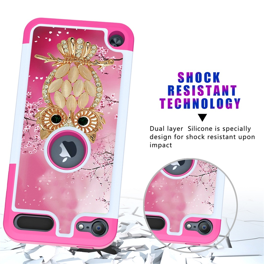 Colorful  Design PC/Protective Durable Casing for iPod touch 5/ 6/ 7 (2019) (Shell Owl)