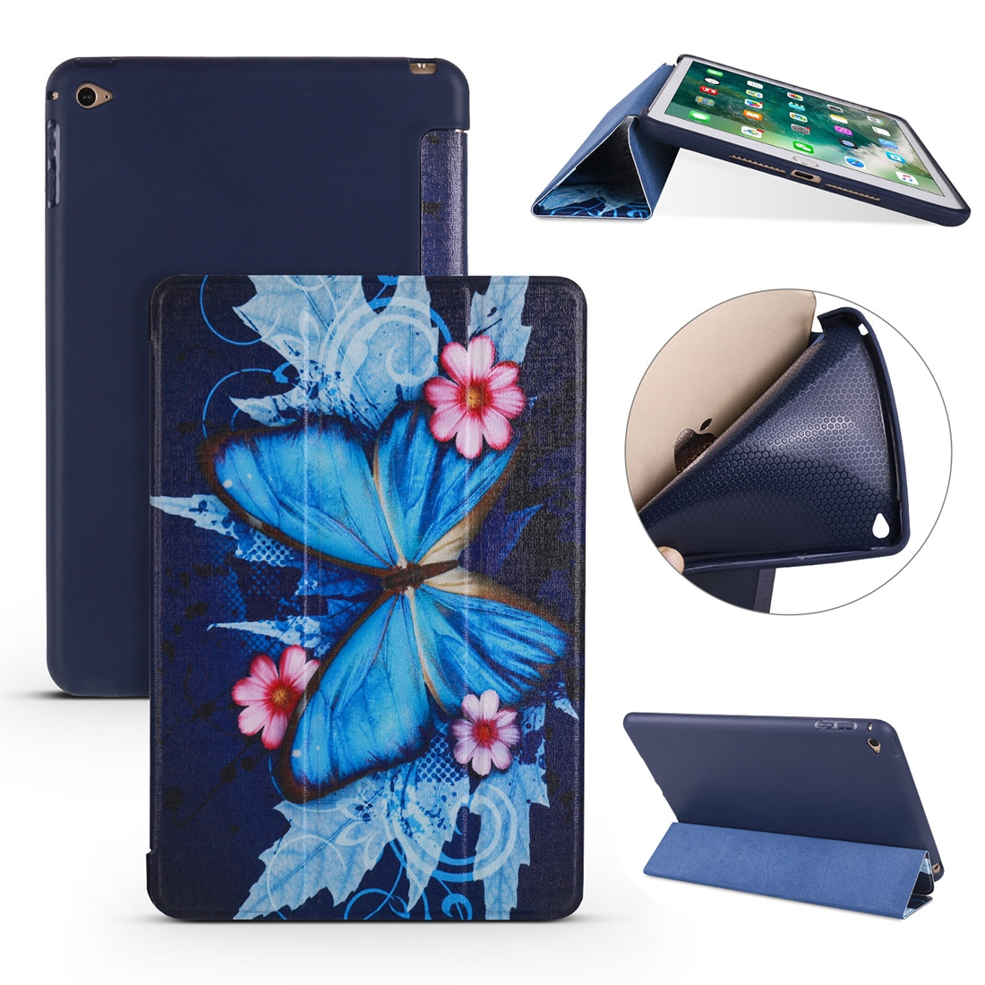 Butterflies Leather iPad Mini 4 Case, with Tri-Fold Honeycomb Durable Casing