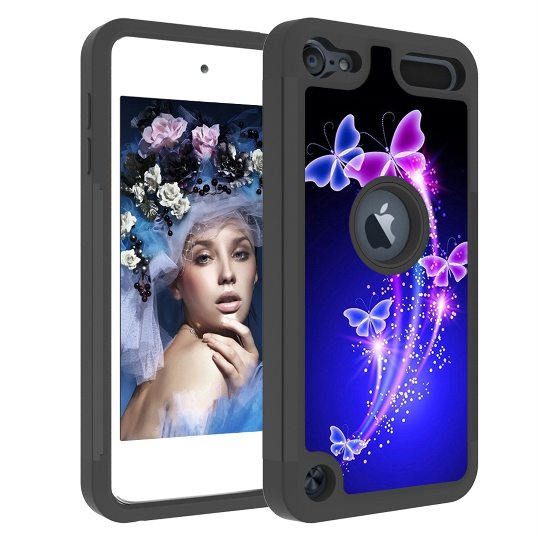 Colorful  Design PC/Protective Durable Casing for iPod touch 5/ 6/ 7 (2019) (Dancing Butterflies)