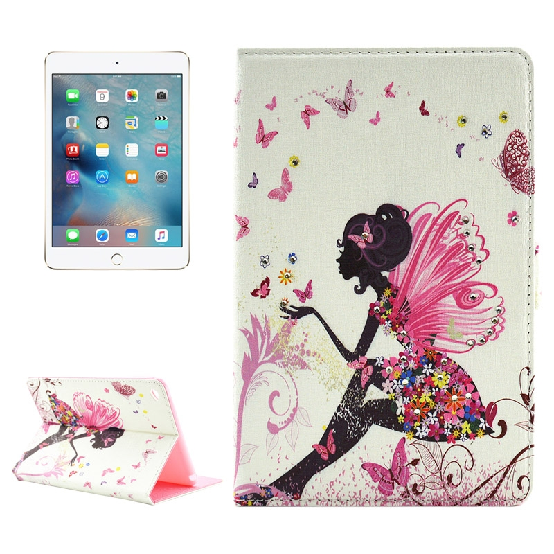 Colorful Butterfly Fairy Pattern Diamond Encrusted Leather iPad Mini 4 Case