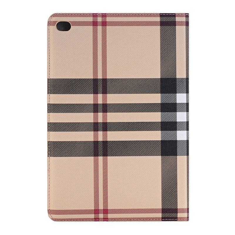 iPad Pro 12.9 Inch Case Featuring Designer Plaid Textured Leather With Slim Profile (Tan)