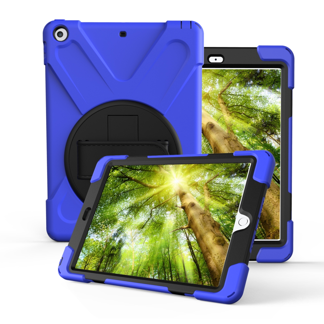 iPad 7th Generation Case (10.2 Inch) With A Protective Rotatable Design And Hand Strap (Dark Blue)