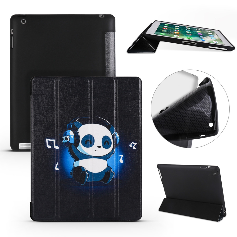 iPad 2 Case Fits iPad 2, 3, Panda Leather Case With Tri-Fold Honeycomb Durable Cover