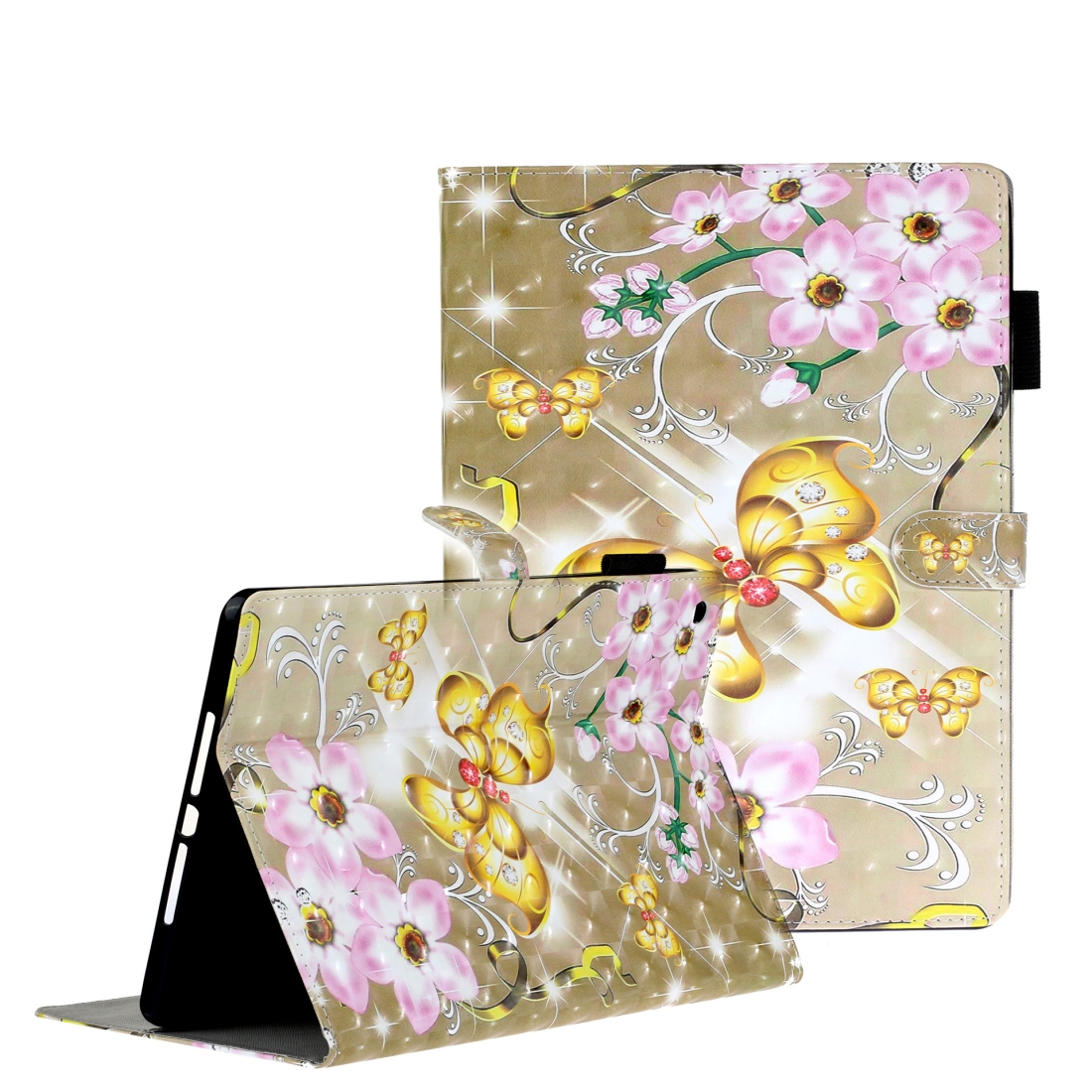 iPad 7th Generation Case (10.2 Inch) 3D Embossing Leather Case & Slim Profile (Gold Butterfly)