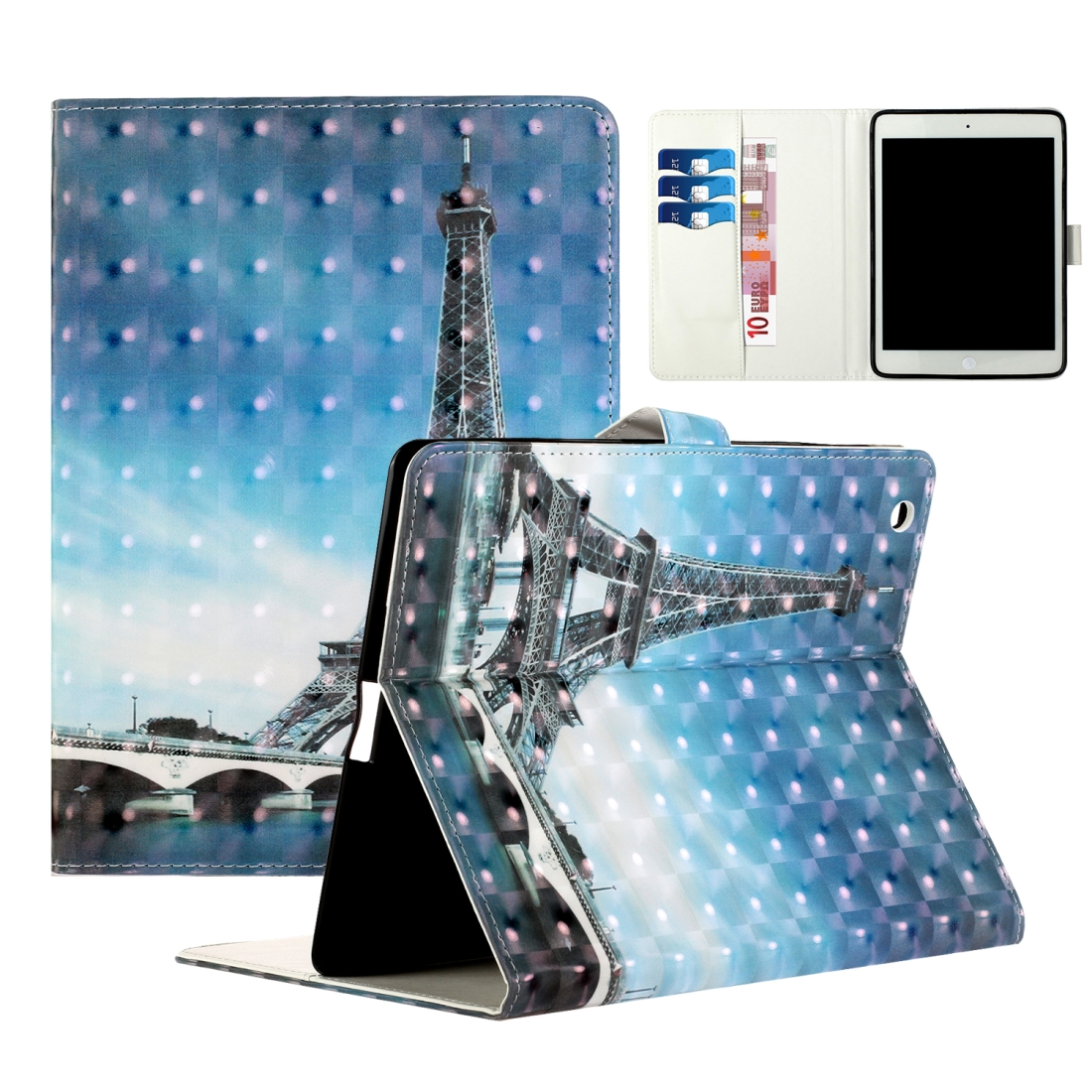 iPad 2 Case Fits iPad 2,3,4, With A Artsy Leather Design with Sleeve & Auto Sleep (Blue Tower)