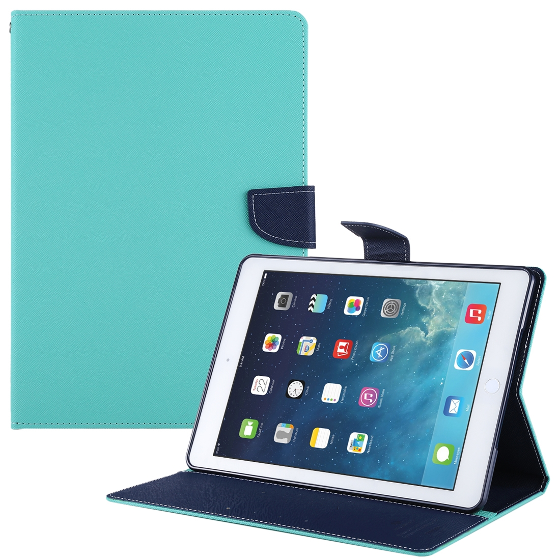 Goospery Diary iPad Air Case Cross Texture Leather Case with Sleeve, Wallet Case (Mint Green)