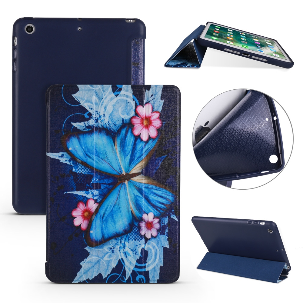 Butterflies Leather iPad Mini Case, Fits iPad Mini 1, 2 & 3,, with Tri-Fold Honeycomb Durable Cover