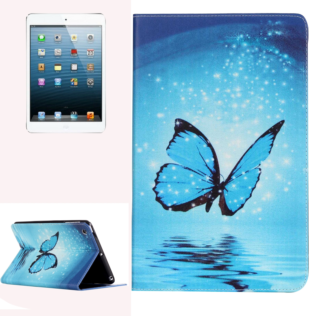 iPad Mini Cover Fits iPad 1/2/3 Painted Blue Butterfly Leather Case with Stand
