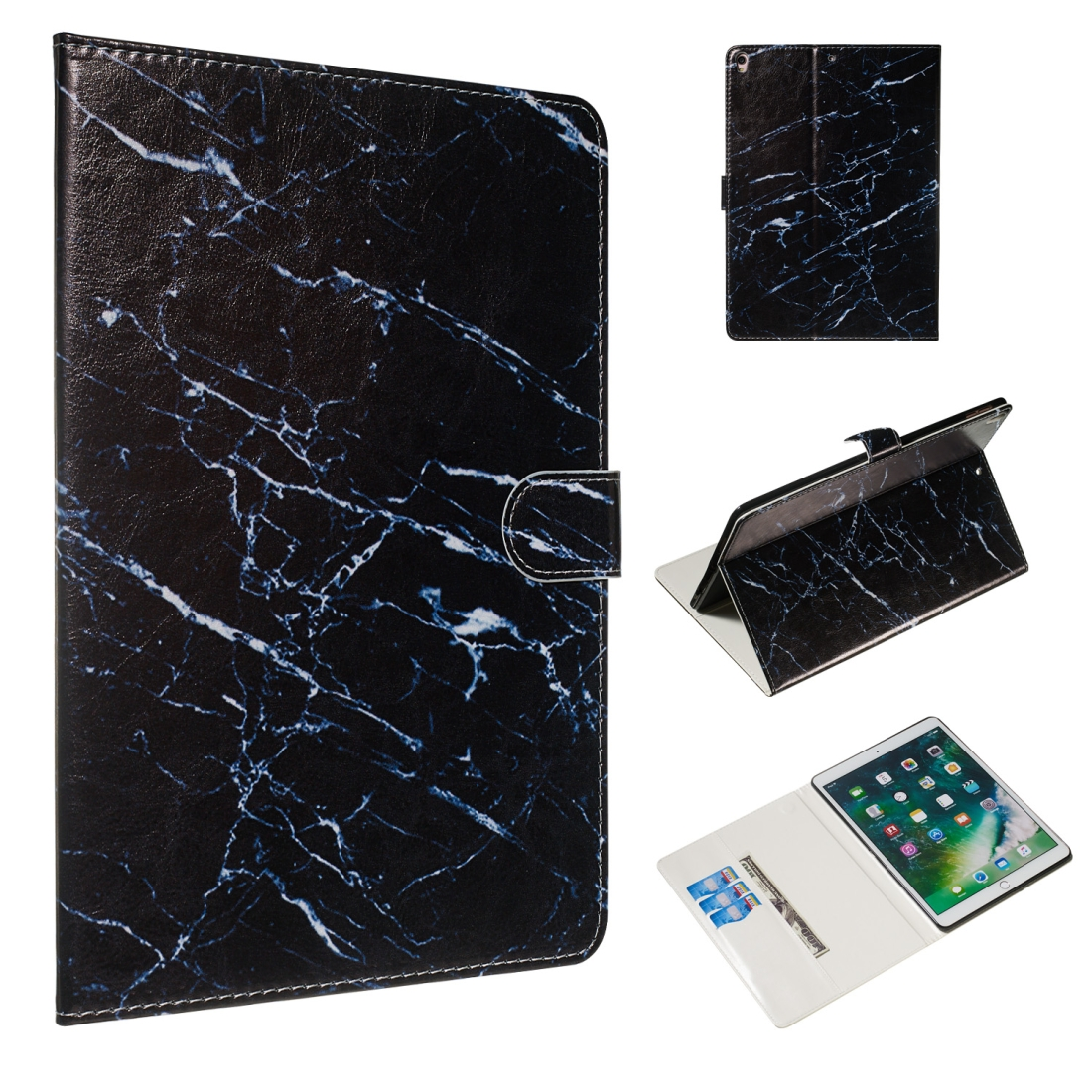 For iPad Air 10.5 (2019)/ iPad Pro 10.5 (2017) Leather Case with Sleeves (Black Marble)