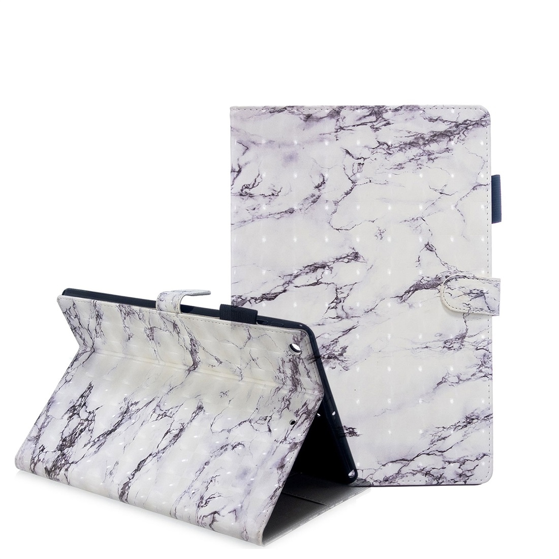 iPad 7th Generation Case (10.2 Inch) 3D Embossing Leather Case & Slim Profile (White Marble)