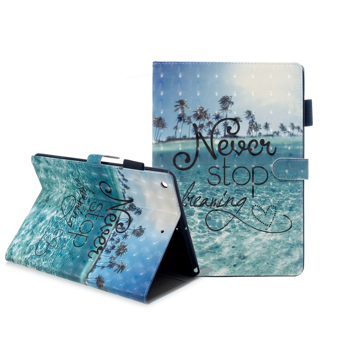 iPad 7th Generation Case (10.2 Inch) 3D Embossing Leather Case & Slim Profile (Blue Coconut Trees)