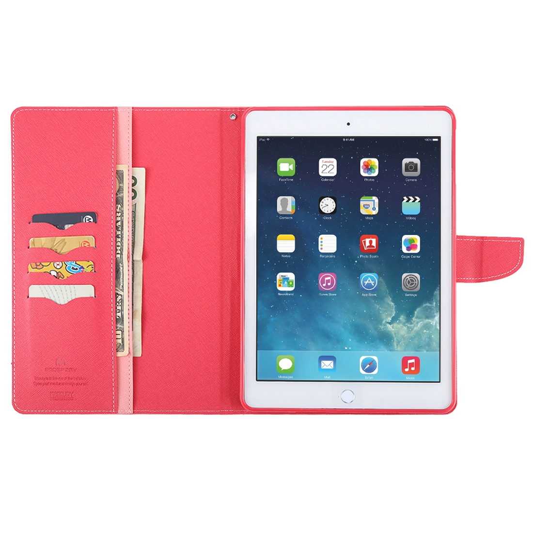 iPad Air Case Cross Texture Leather Case with Sleeve & Slim Profile (Pink)