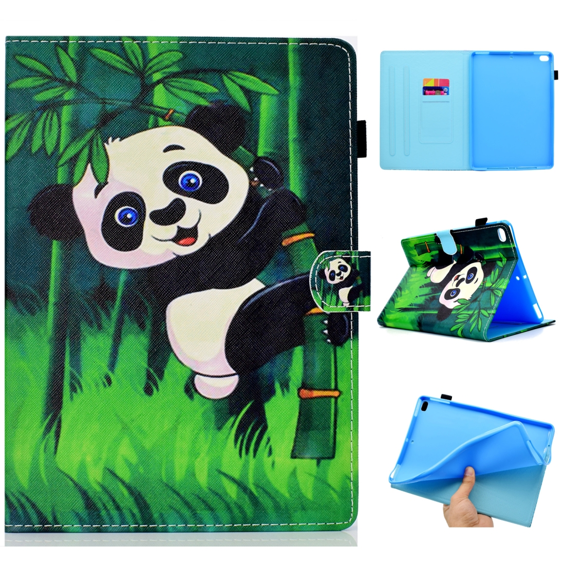 Case For iPad 5/ 6 Artistic Stitching Leather Case, with Sleeves & Auto Sleep function (Panda)
