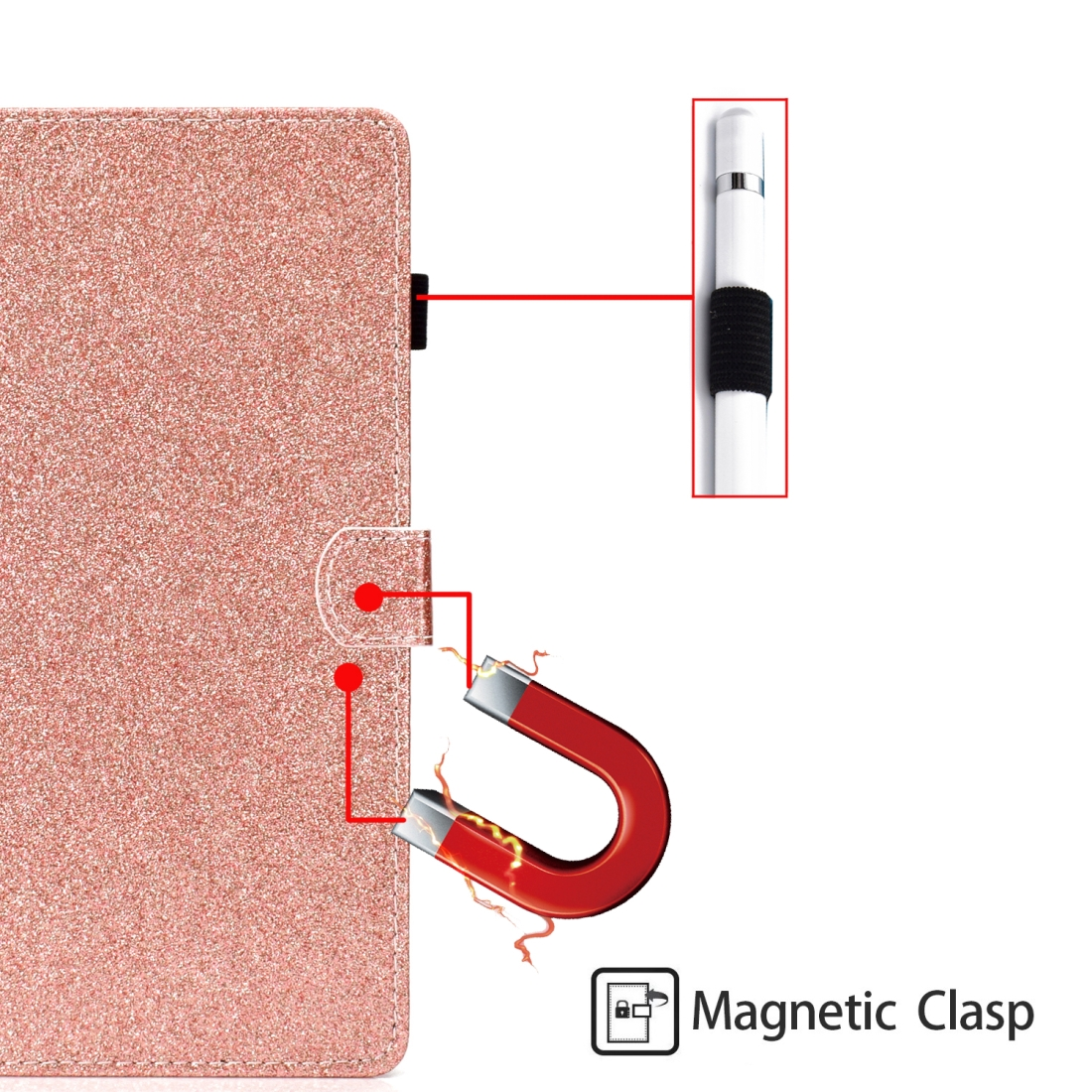 Bling Glitter Leather iPad Mini 5 Case, Also Fits iPad Mini 1,2,3,4, With Sleeve (Rose Gold)