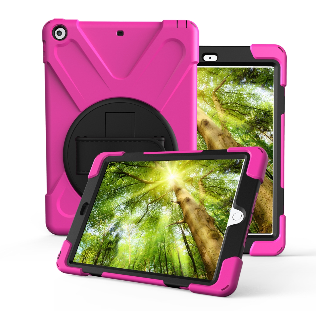 iPad 7th Generation Case (10.2 Inch) With A Protective Rotatable Design And Hand Strap (Rose Red)