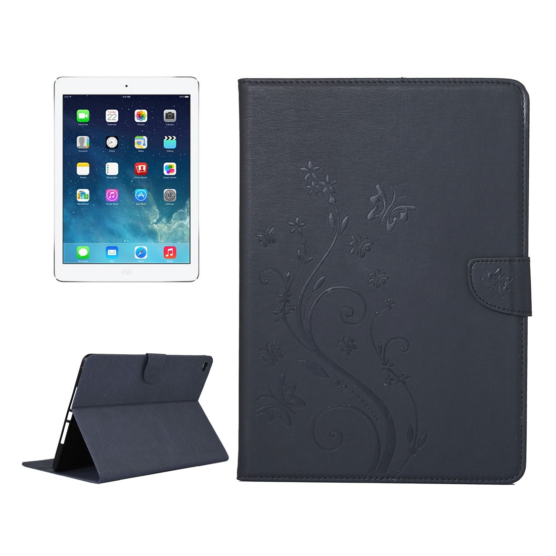 iPad Air 2 Case Floral Butterfly Leather Case with Magnetic Closure, Slim Profile (Black)