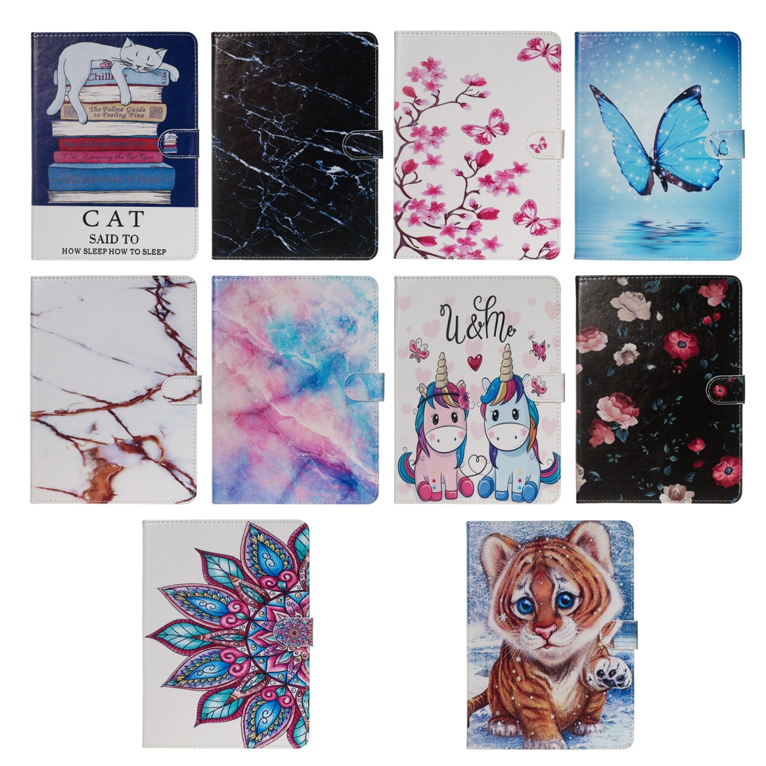 For iPad Air 10.5 (2019)/ iPad Pro 10.5 (2017) Leather Case with Sleeves (Blue Butterfly)