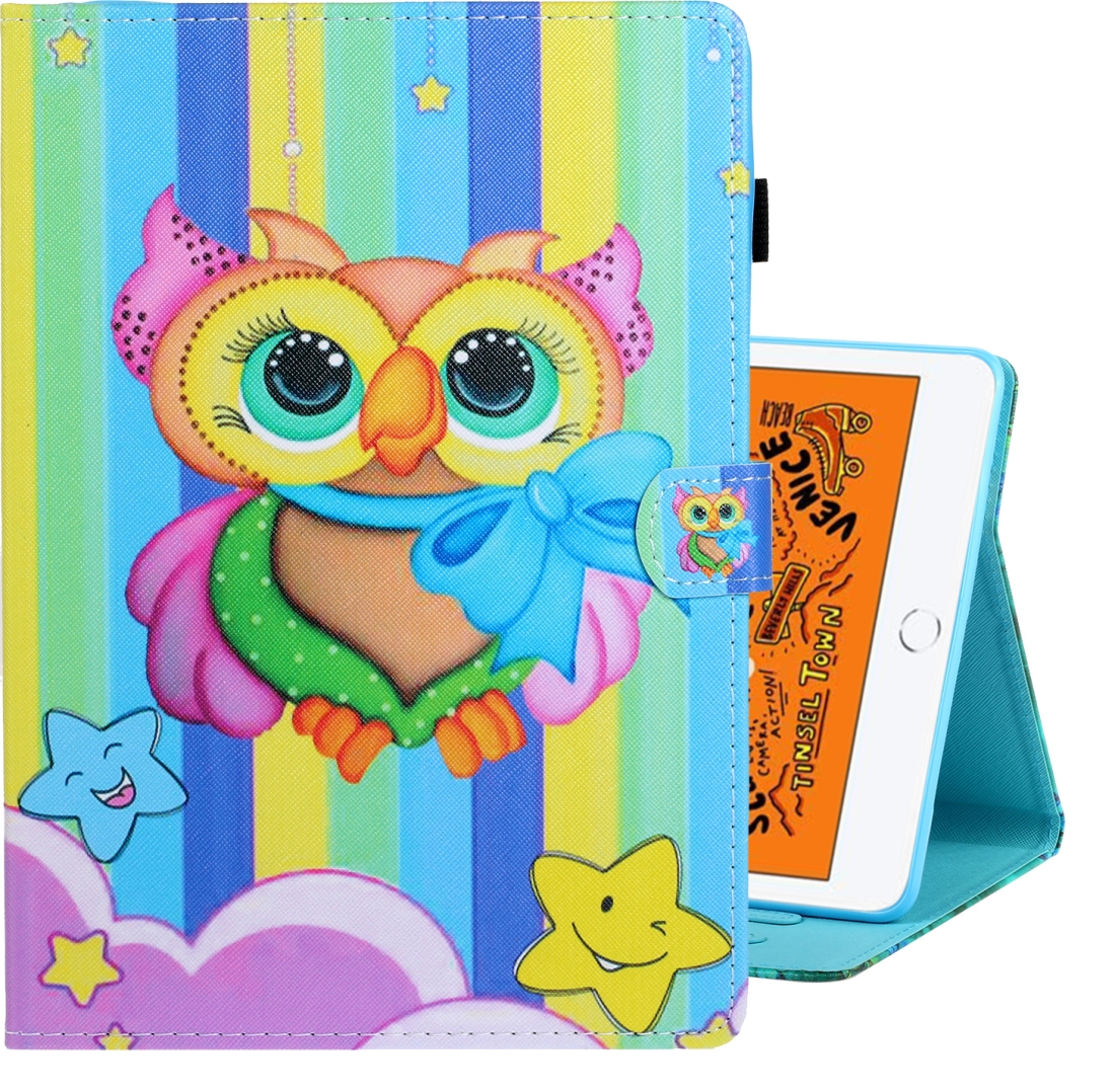 Artsy iPad Mini 5 Case, Also Fits iPad Mini 1,2,3,4, With Auto Sleep (Rainbow Owl)