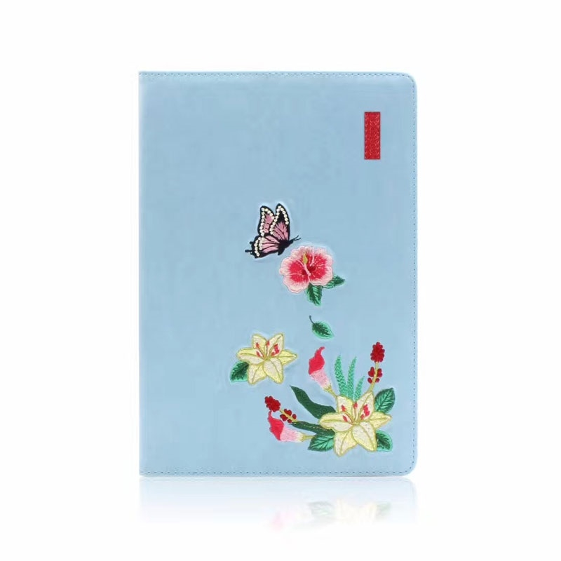 Flower Pattern Trendy Leather iPad Air 3 Case (10.5 Inch), with Auto Sleep (Blue)