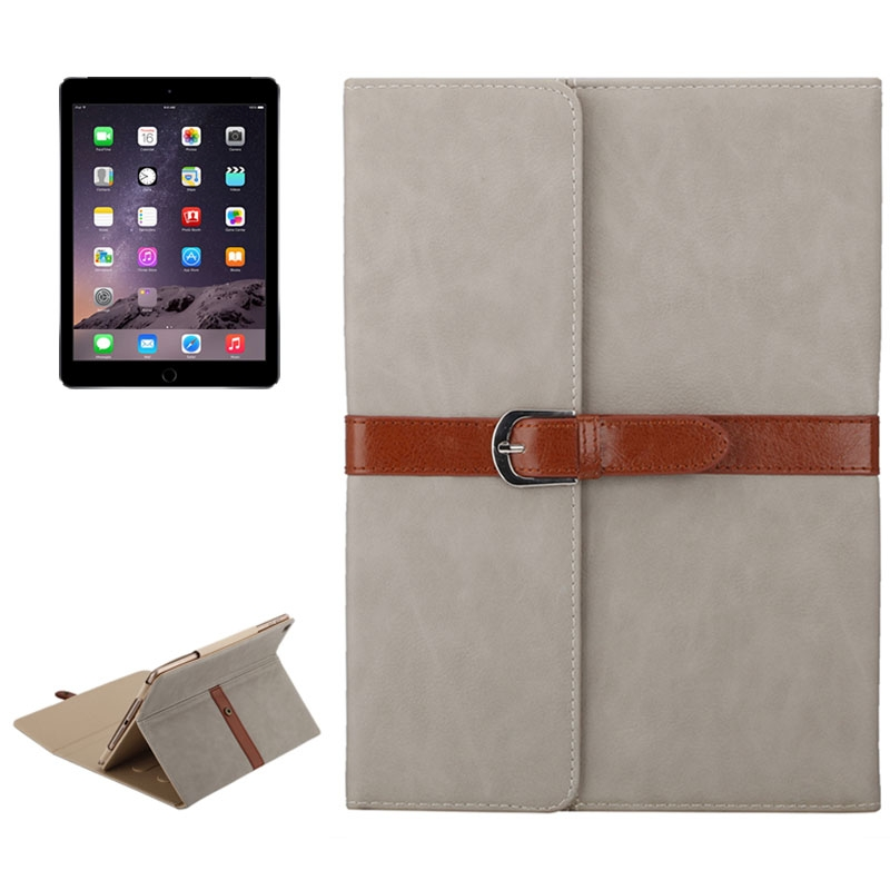Business Style Leather iPad Air 2 Case/ 1/ iPad 6/ 5, Tri-Fold Holder & Buckle Case (light grey)