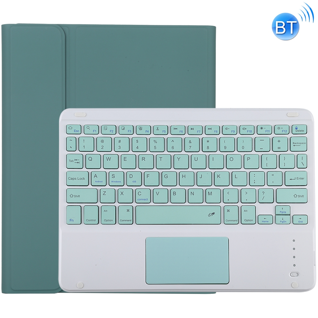 iPad Air Case With Keyboard For iPad 10.2/Air (2019) Leather Case,Touchpad & Bluetooth (Dark Green)