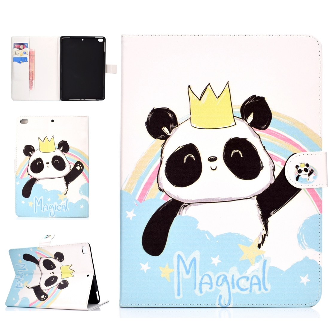 iPad 5th Generation Case Fits iPad 5,6,8, Leather Colorful Design, Tri-Folding, Auto Sleep (Panda)