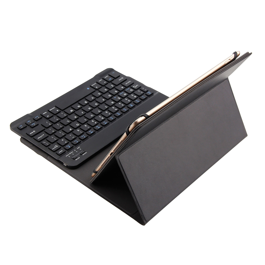 Bluetooth Wireless Keyboard & Leather Case, Compatible With 9-10.5 inch iOS, Win, Adr Tablet (Black)