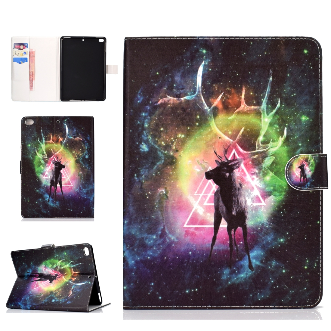 iPad 5th Generation Case Fits iPad 5,6,8, Stylish Leather Design & Auto Sleep Function (Nebula deer)