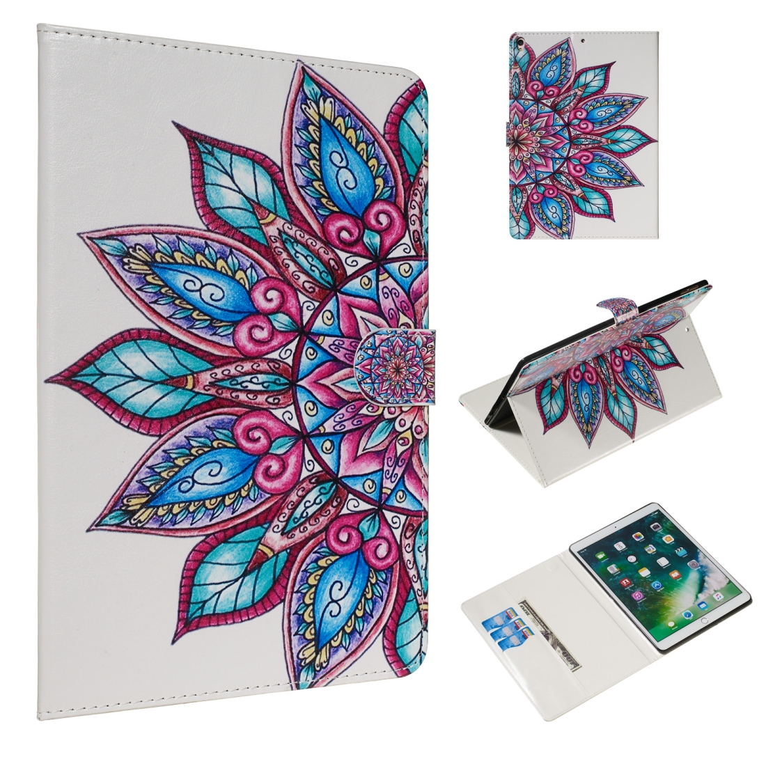 For iPad Air 10.5 (2019)/ iPad Pro 10.5 (2017) Leather Case with Sleeves (Half Flower)