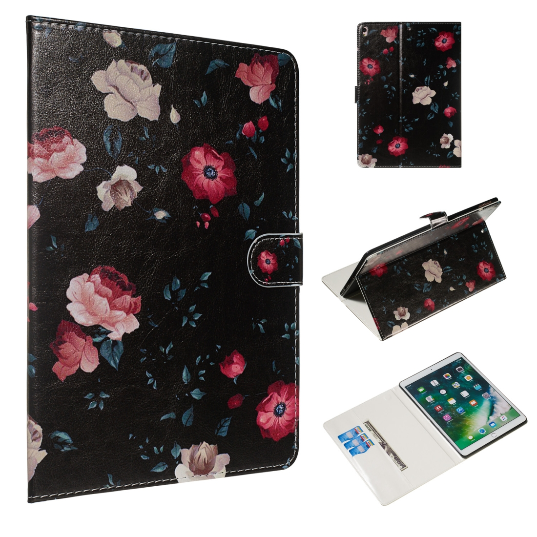 For iPad Air 10.5 (2019)/ iPad Pro 10.5 (2017) Leather Case & Sleeves (Black Backgroud Flower)