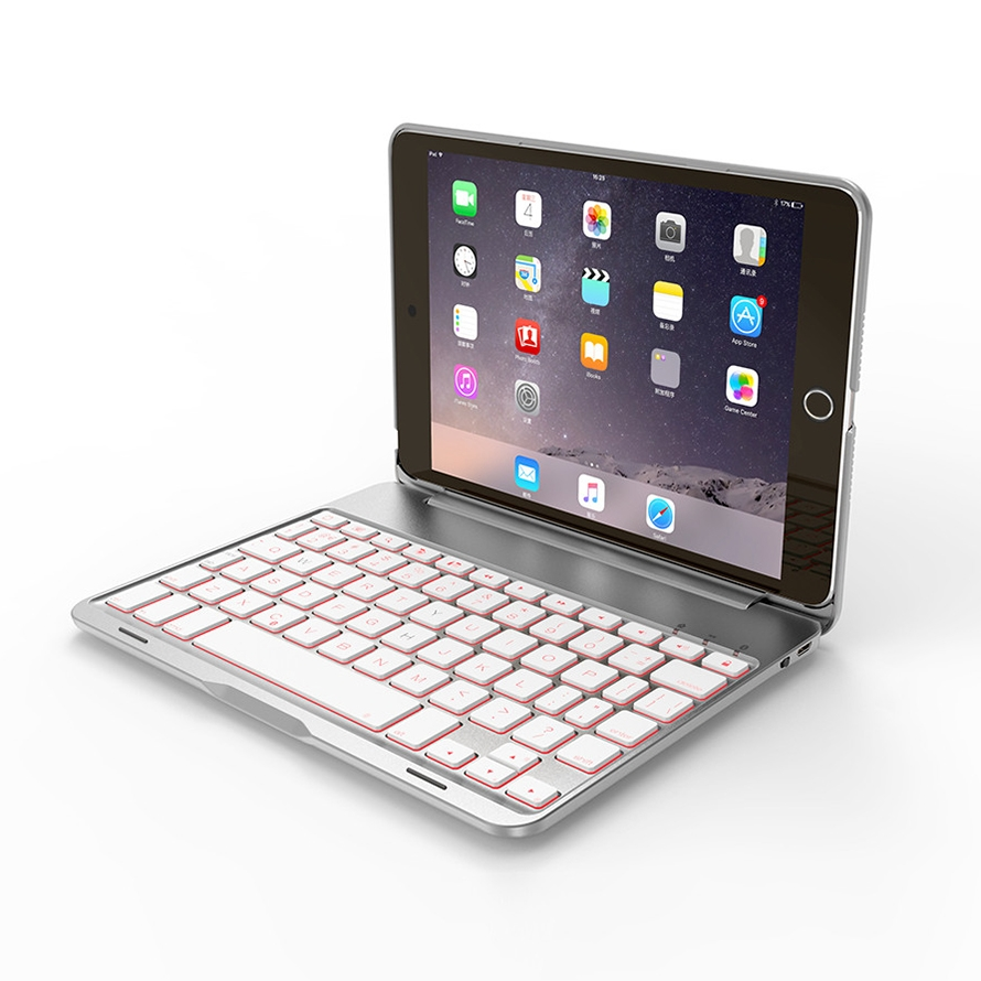 iPad Mini Case With Keyboard For iPad Mini 1,2 & 3, Protective Case With Bluetooth Keyboard (Silver)