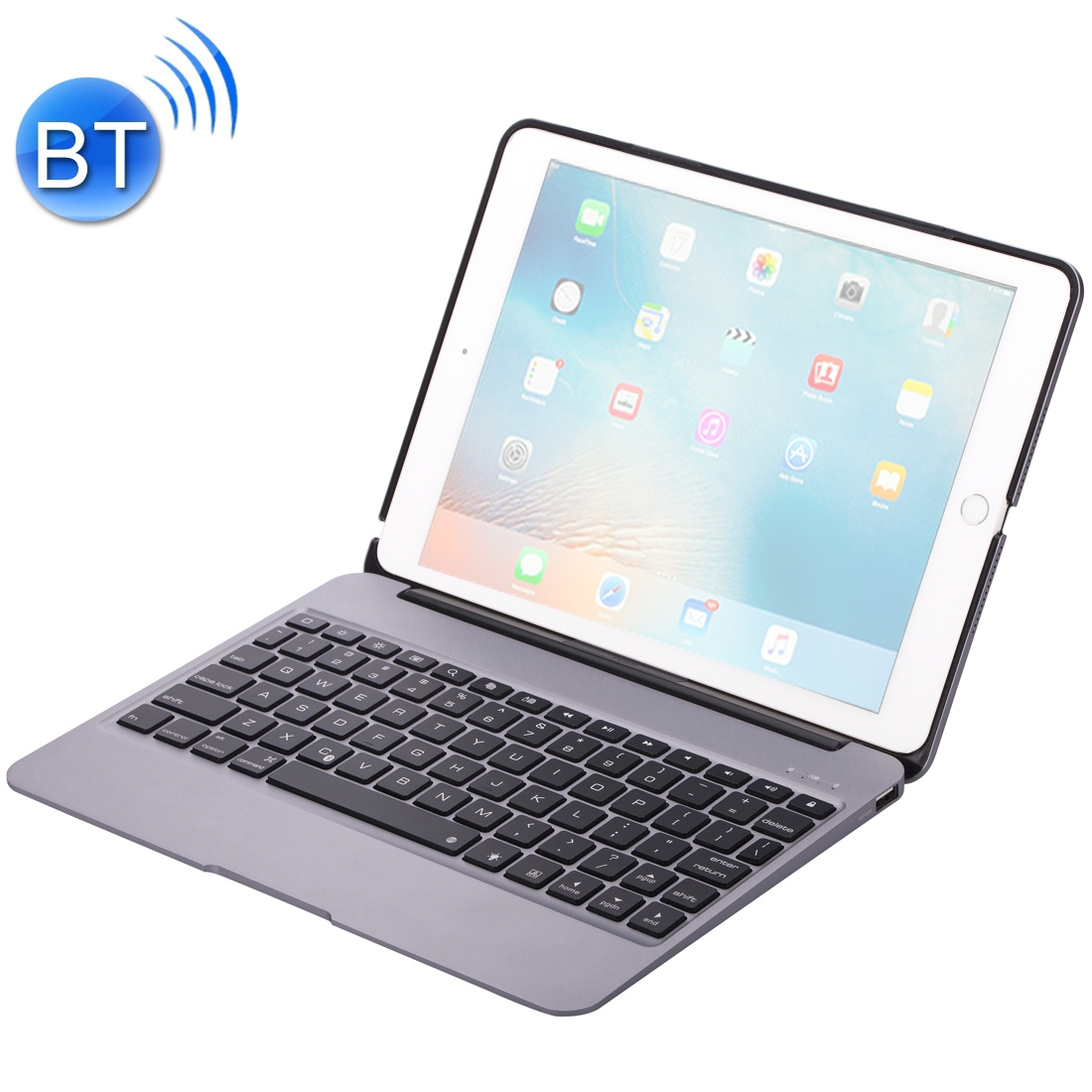 iPad Pro 12.9 Case With Keyboard (2018-20) With Aluminum Case & Backlit Keyboard (Grey)