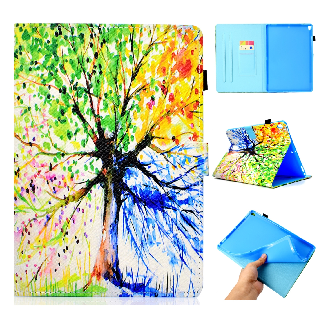 Artsy Leather iPad Air 3 Case (10.5 Inch) 2017/2019 Artsy Design & Auto Sleep Function (Tree)