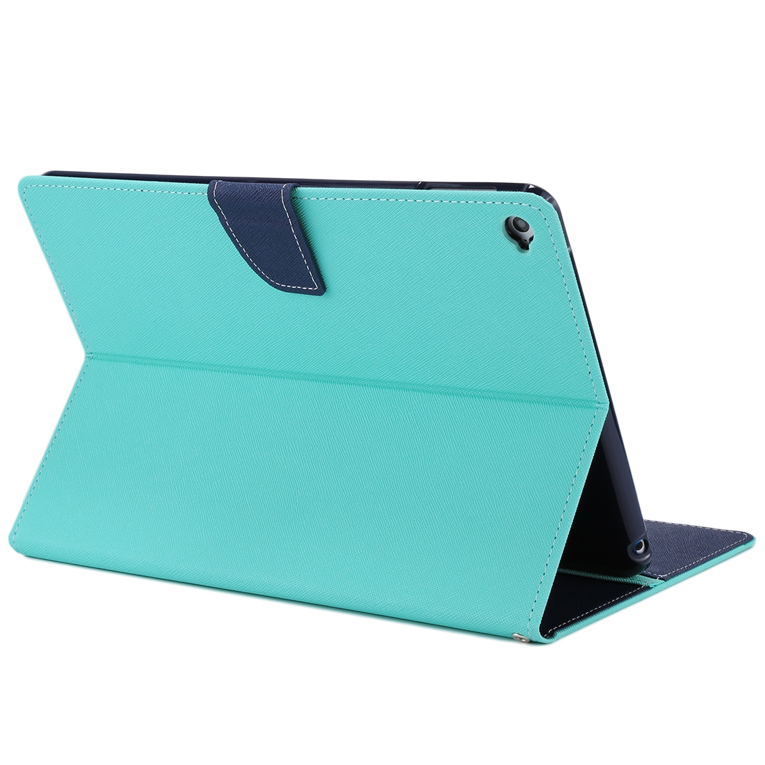 iPad Air 2 Case Cross Texture Leather Case with Holder & Slim Profile (Mint Green)