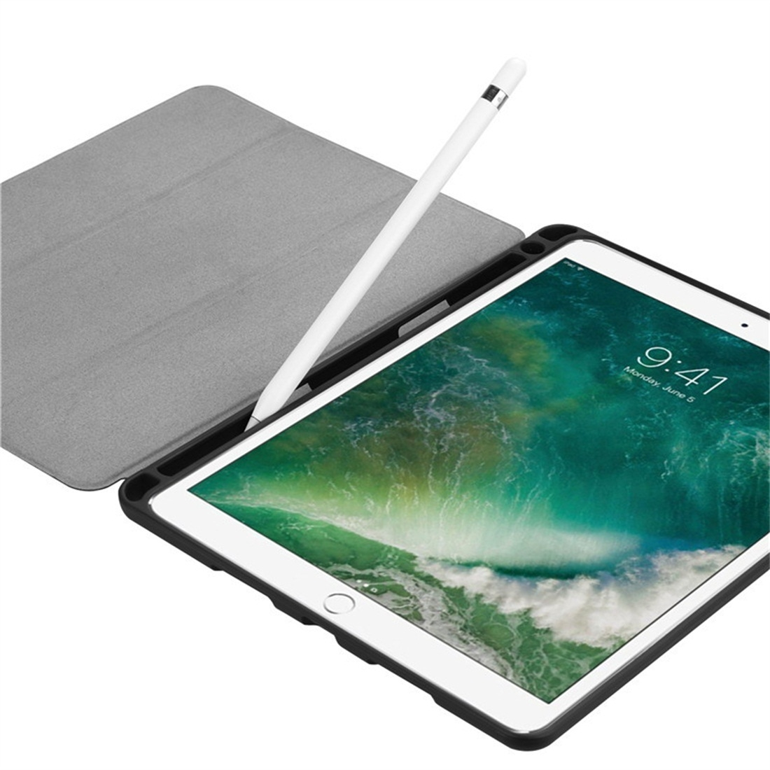 Custer Texture Leather iPad Air 3 Case (10.5 Inch)/ iPad Air (2019), with Pen Holder (Black)
