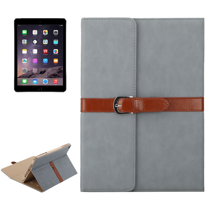Business Style Leather iPad Air Case 1/2, iPad 5/6, With Tri-Fold Holder & Buckle (dark grey)