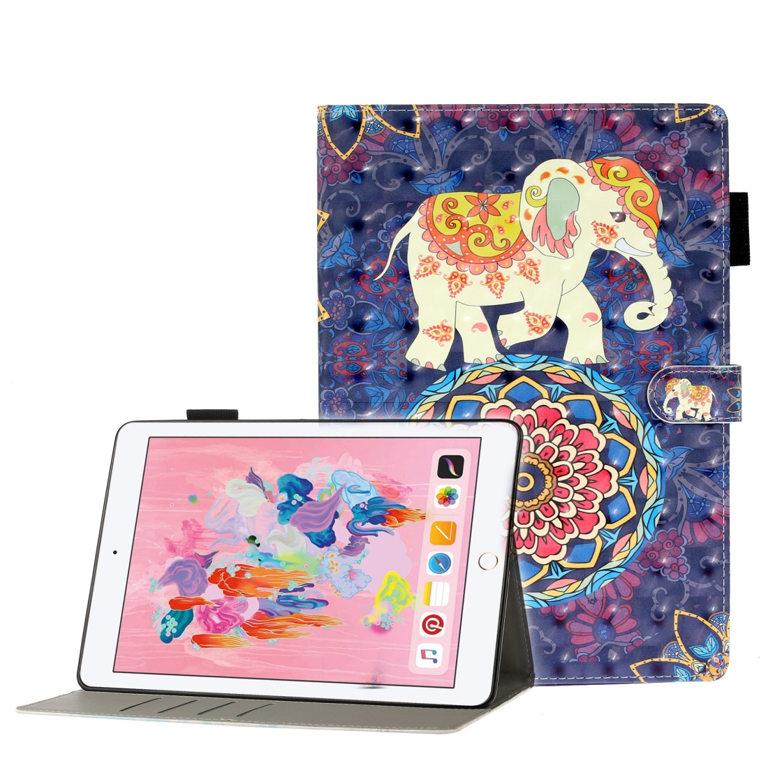 Case For iPad 5/ 6/ 7/ 8/ 9 3D Embossing Leather Case & Slim Profile (Elephant)