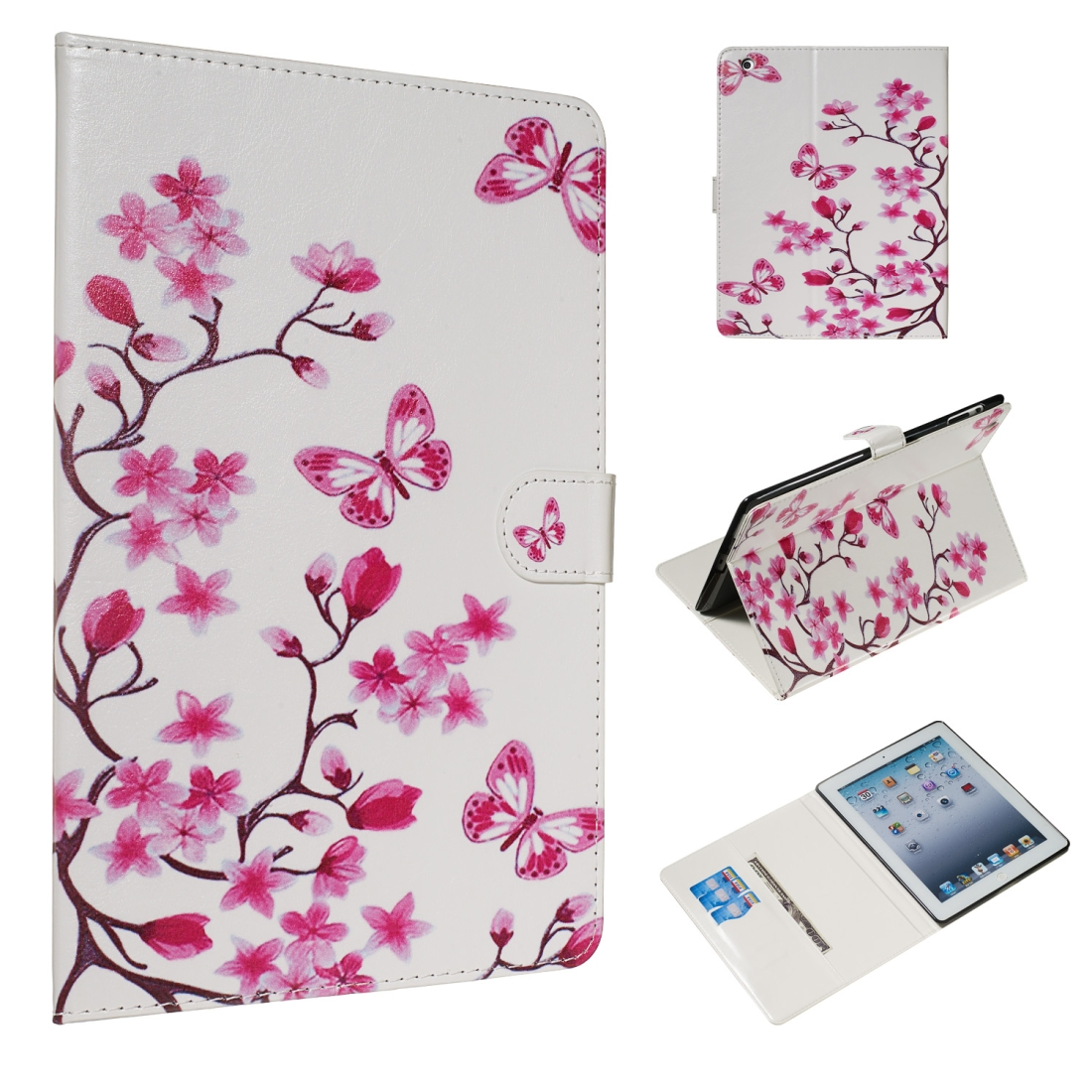 iPad 2 Cover Fits iPad 2,3,4, Featuring A Protective Leather Skin & Sleeves (Butterfly Love Flower)