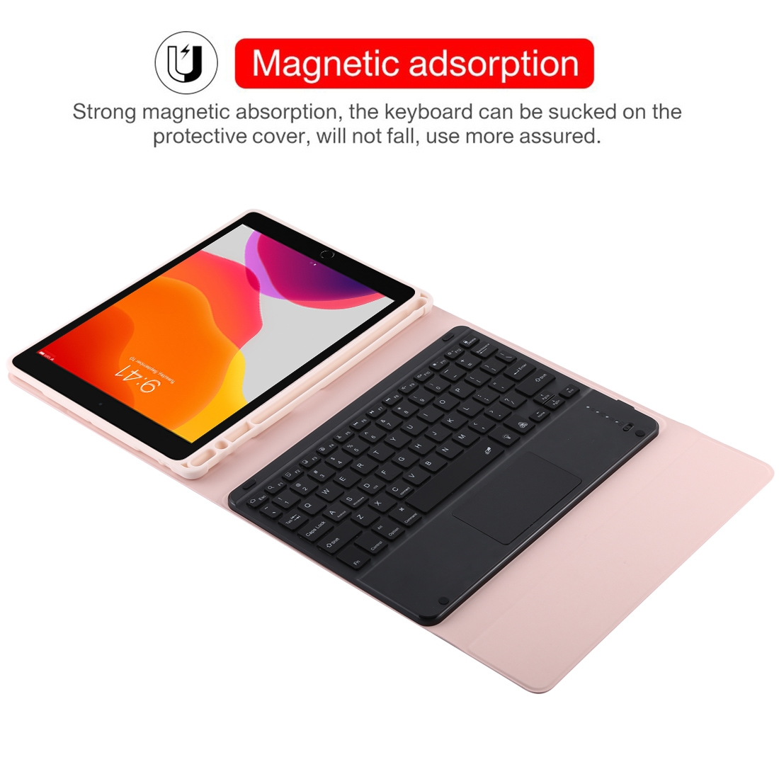 iPad Air Case With Keyboard For iPad 10.2/Air (2019) Leather Case With Backlit Keyboard (Pink)