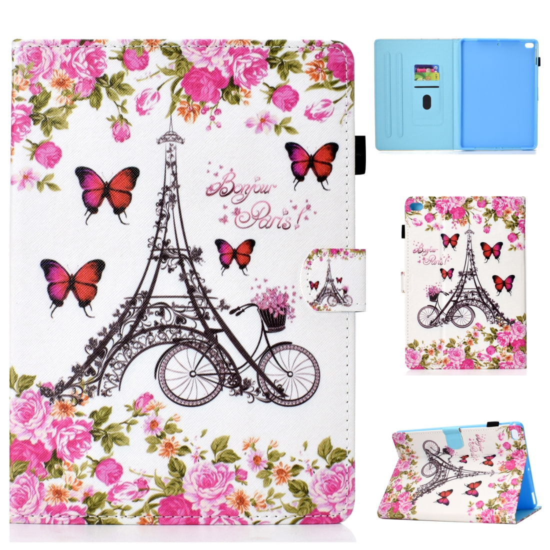 Case For iPad 5/ 6/ 8 Artistic Stitching Leather Case, with Sleeves (Flower Tower)